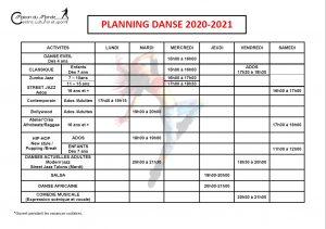 DANSE PLANNING 2020-2021